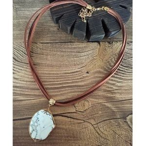 Jewelry - Leather & Turquoise Pendant Necklace